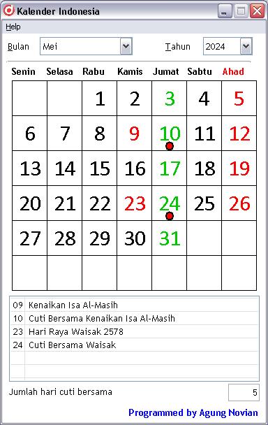 Kalender Mei 2024