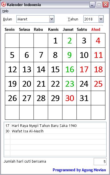 Kalender Maret 2018