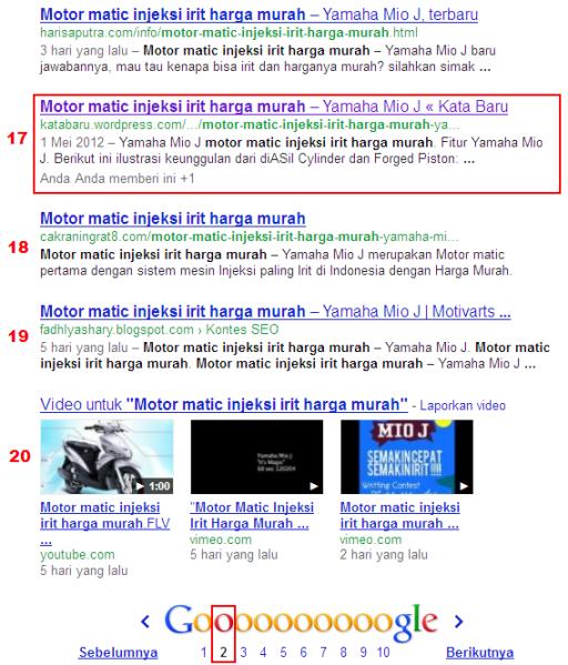 """Ranking Artikel """"Motor matic injeksi irit harga murah"""" di Google"""