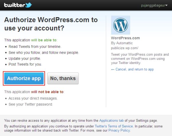 Otorisasi WordPress dengan Twitter