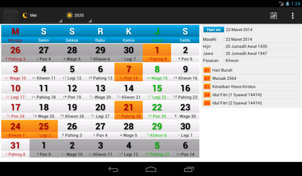 Tampilan iKalenesia-Lite pada tablet 7 inci