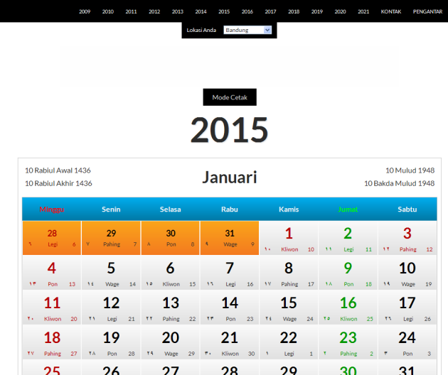 Tampilan Laman Kalender Indonesia
