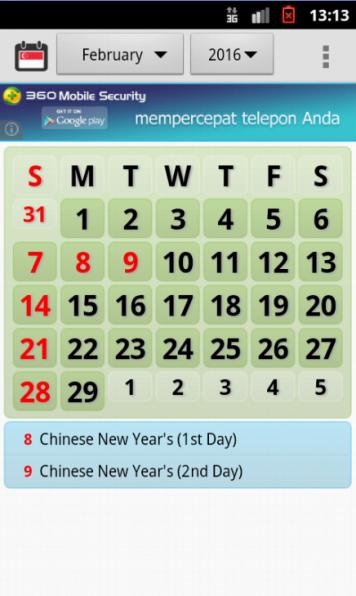 Tampilan utama kalender Singapura