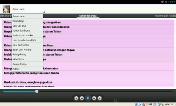 Tampilan utama aplikasi 10 lagu dangdut Rhoma Irama